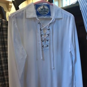 White lace up top.  Cloth and stone Anthropologie